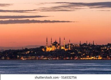 Sunset view in Istanbul, Turkey.