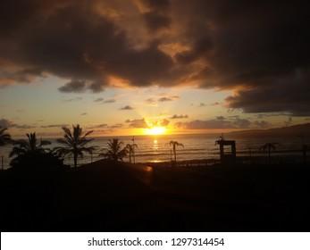 Sunset view in the Itapema beach, Santa Catarina, Brazil.