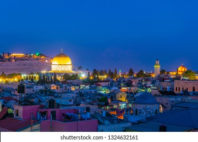 Sunset view of Jerusalem dominated by golden cupola of the dome of the rock, Israel