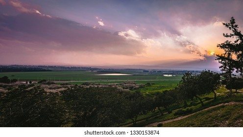 Sunset view of the Jezreel Valley, Israel