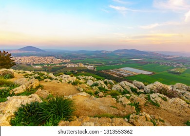 Sunset view of the Jezreel Valley and Mont Tabor, from Mount Precipice. Israel