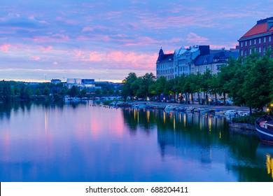 Sunset view of kaisaniemenlahti bay, in Helsinki, Finland