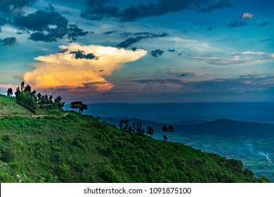 Sunset view from Karoit, Nandi Hills, looking down from the escarpment into the Great Rift Valley. Kenya, Africa.