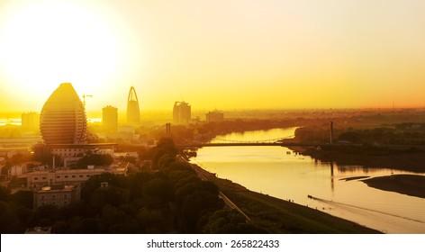 A sunset view of Khartoum, Sudan