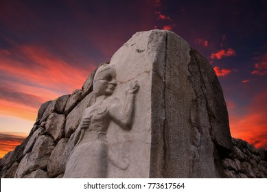 Sunset view of the King gate of The Hattusa that is The capital of the Hittite Civilization, Corum