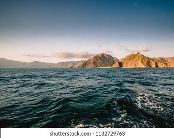 Sunset view of the Komodo Island in Indonesia Flores