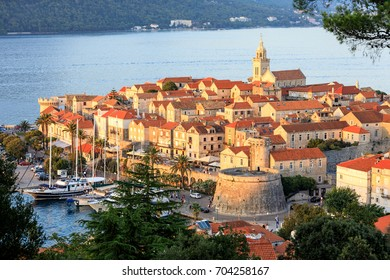 Sunset view of Korcula Old Town, Croatia