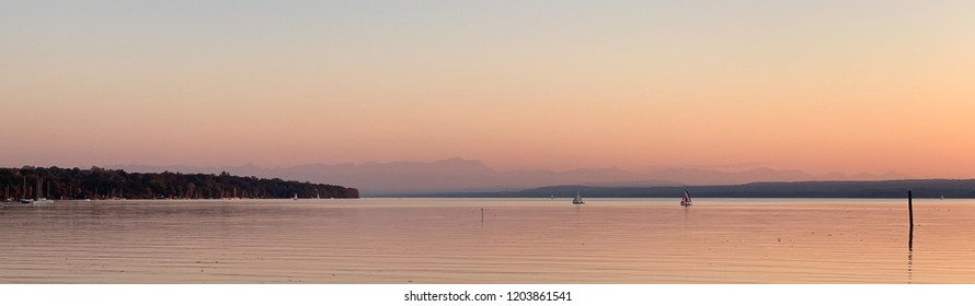 """Sunset view of the lake """"Ammersee"""" near Munich in Bavaria"""