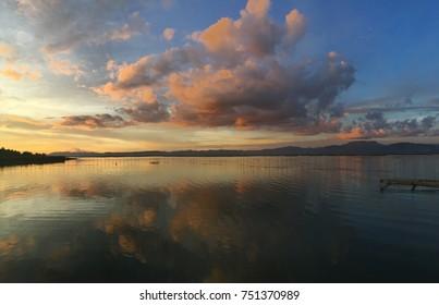 Sunset view from Lake Limboto Gorontalo Indonesia