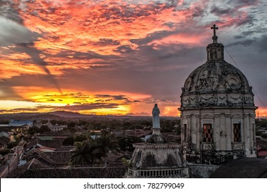 Sunset view from Le Merced Church in Granada, Nicaragua