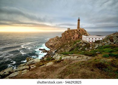 Sunset view of Lighthouse at Cabo Vilan, in the atlantic Costa da Morte Spain.