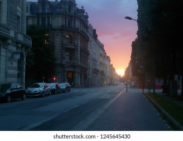 Sunset view of the Lille Streets in France.