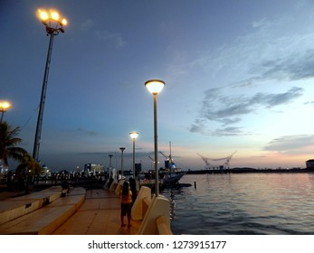 Sunset view at Losari beach Makassar Indonesia