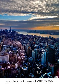 sunset view of manhattan skyline from the empire state building