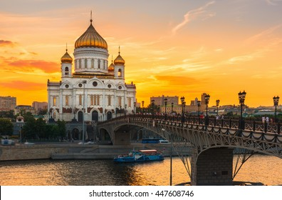 Sunset view of Moscow Cathedral of Christ the Savior in Moscow, Russia. Moscow river and patriarchal bridge in Moscow, Russia. Moscow architecture and landmark, Moscow cityscape
