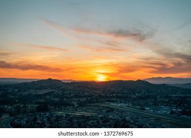 Sunset view from Mount Rubidoux in Riverside, California