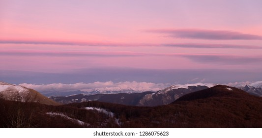 Sunset view from mount Terminillo near Rieti, in Italy