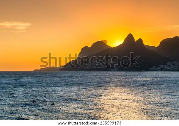 Sunset view of Mountain Dois Irmao in Ipanema and Leblon. Rio de Janeiro, Brazil