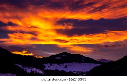Sunset view in the Mountains of Austria