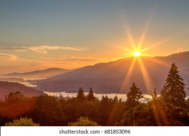 sunset view from mountaintop, Burnaby Mountain, British Columbia, Canada