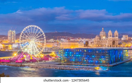 Sunset view of Museum of European and Mediterranean Civilisations at Marseille, France