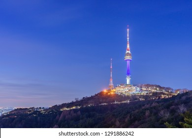 Sunset view in N Seoul Tower is located on Namsan Mountain in central Seoul, South Korea