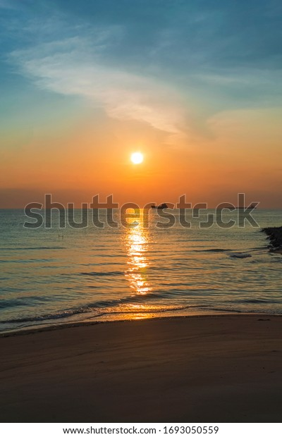 sunset view at near the ocean at encore malacca