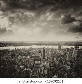 Sunset view of New York Buildings. Manhattan skyline.