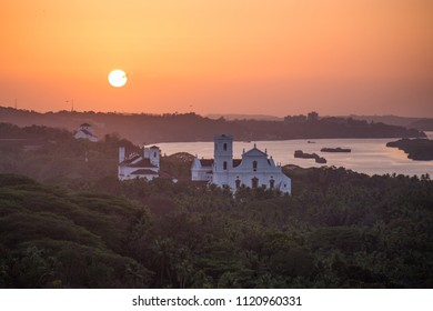 The sunset view in the Old Goa city, India.
