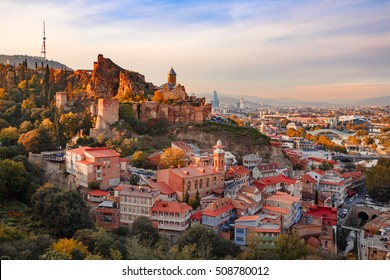 Sunset view of Old Tbilisi from the hill.
