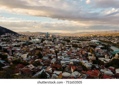 Sunset view of Old Tbilisi from the Mtatsminda hill.