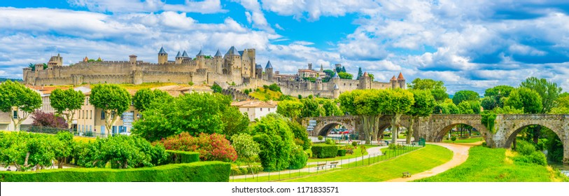 Sunset view of Old town of Carcassonne and pont vieux in France