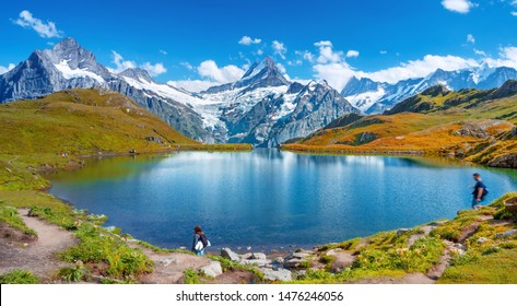 Sunset  view on Bernese range above Bachalpsee lake. Popular tourist attraction. Location place Switzerland alps, Grindelwald valley, Europe.
