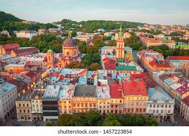 Sunset view on Lviv city center, Western Ukraine
