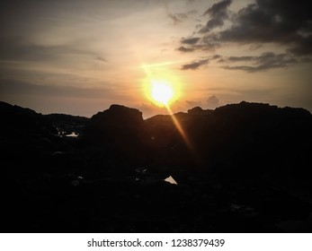 Sunset View On The Sea Rocks At Batu Bolong Beach, Canggu Village, Badung, Bali, Indonesia