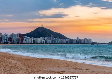 Sunset view over Costa Beach in Vila Velha, ES, Brazil.