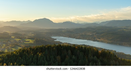 Sunset view over Dobratsch mountain and Woerthersee lake from Pyramidenkogel