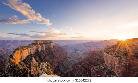 Sunset view from the over look on Cape Royal in Grand Canyon North Rim.