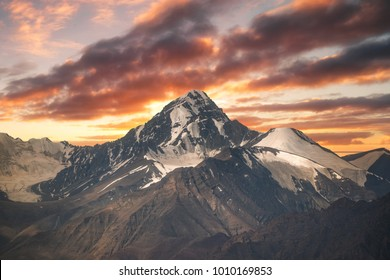 Sunset view over mountain in Ladakh region state of Jammu and Kashmir in north of India