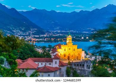 Sunset view over Santuario della Madonna del Sasso in Locarno, Switzerland