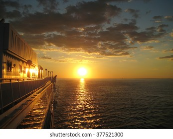 Sunset view overlooking the ocean from cruise
