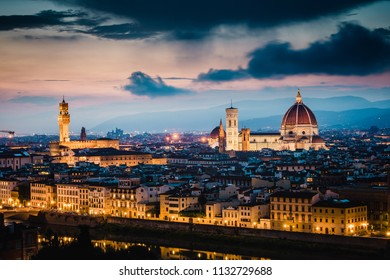 Sunset view of Palazzo Vecchio and Cathedral of Santa Maria del Fiore (Duomo), Florence, Italy