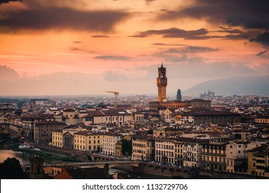 Sunset view of Palazzo Vecchio in the city of Florence Italy
