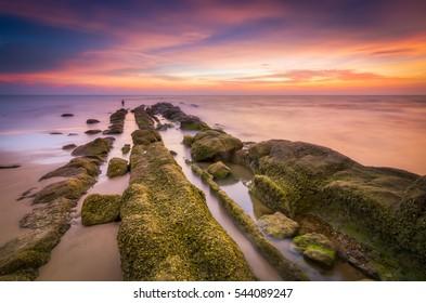 Sunset View At Pantai Bungai Miri, Sarawak