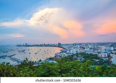 Sunset view of Pattaya city beach at  Pratumnak viewpoint, Pattaya Thailand