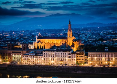 Sunset view of the  Pazzi Chapel and the Basilica of Santa Croce in Florence, Italy