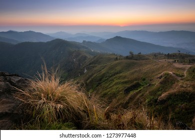 Sunset view of the peak of mountain and cloudscape at Phu chi fa in Chiangrai,Northen Thailand