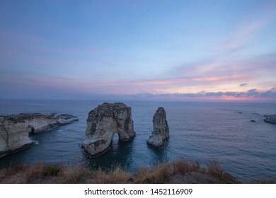 Sunset view of Pigeon Rock (Raouche), Beirut. Lebanon