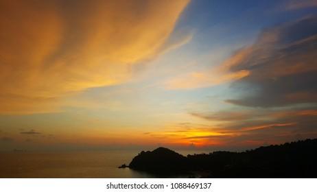 sunset view from Pimalai Resort, Koh Lanta, Thailand