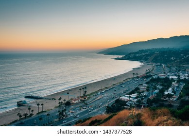 Sunset view from The Point at the Bluffs, in Pacific Palisades, Los Angeles, California